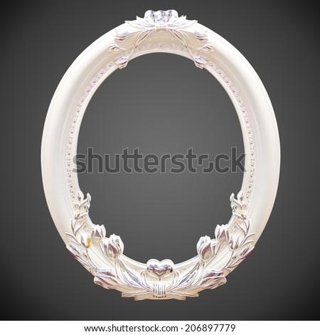 Classic white frame isolated on black background - stock photo