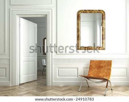 Classic white interior with chair mirrors and open door - stock photo