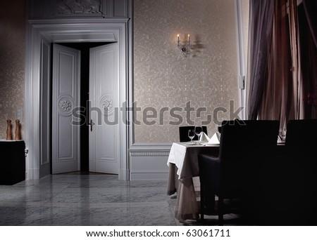 Classic white interior with open door - stock photo
