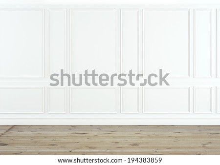 Classic white interior with wooden floor - stock photo