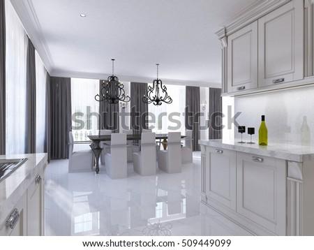 Modern White Kitchen Clean Interior Design Stock Photo 119843548 ...