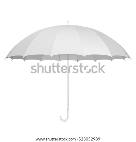 Classic white umbrella simple 3D illustration
