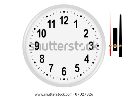 Classic white wall clock with separated hands - stock photo