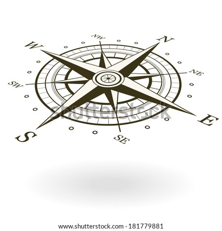 Classic wind rose isolated on white background. View from above and one side. Raster version illustration. - stock photo