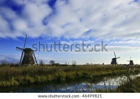 Classic windmills - stock photo