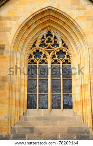 Classic window, Prague - stock photo