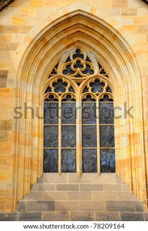 Classic window, Prague - stock photo