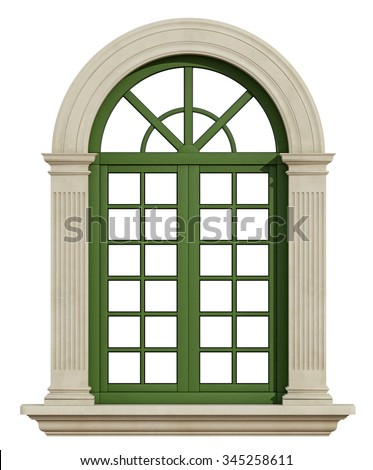 Classic window with stone frame isolated on white - 3D Rendering - stock photo