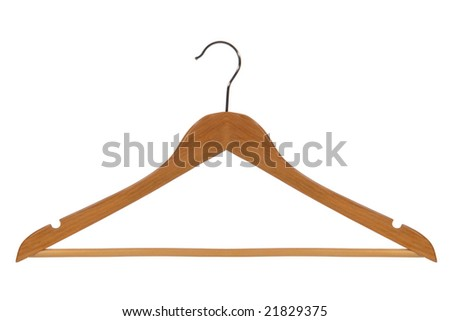 Classic wood clothes hanger isolated on white