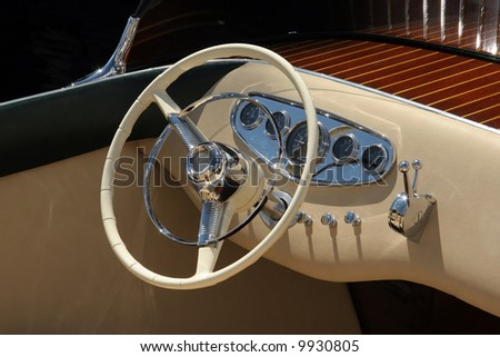 Classic wooden boat - stock photo