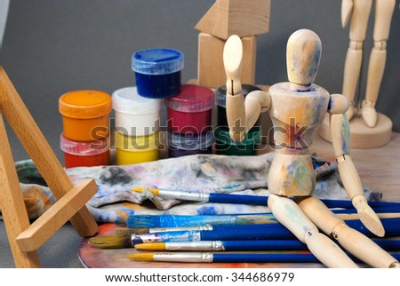 Classic wooden dummy and other art tools.