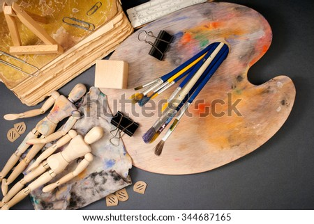 Classic wooden dummys and other art tools.