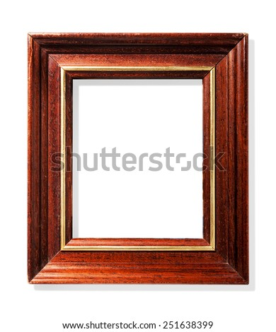 Classic wooden frame with gold insert isolated on white background  - stock photo