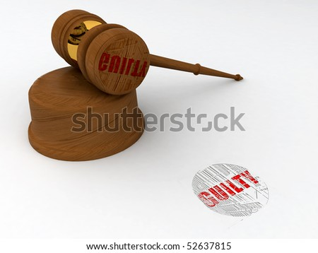 Classic wooden judge's gavel, Symbol of justice - guilty stamp - stock photo