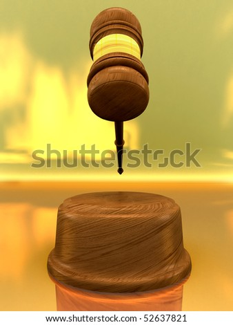 Classic wooden judge's gavel, Symbol of justice - judicial 3d gavel. - stock photo