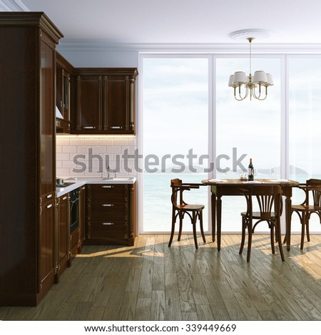 Classic Wooden Kitchen Interior with Table and Chairs. Ocean View. 3D render