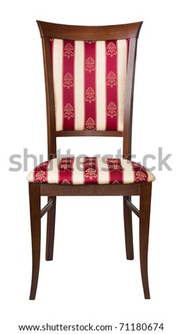 Classic wooden padded  chair isolated on white - stock photo
