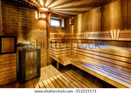 Classic wooden sauna interior in Russia - stock photo