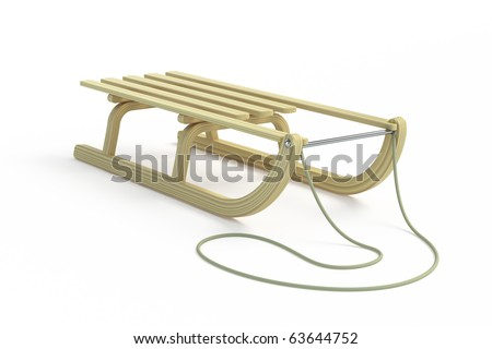 Classic wooden sled on white background - stock photo