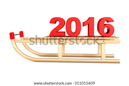 Classic Wooden Sled with 2016 New Year Sign on a white background - stock photo