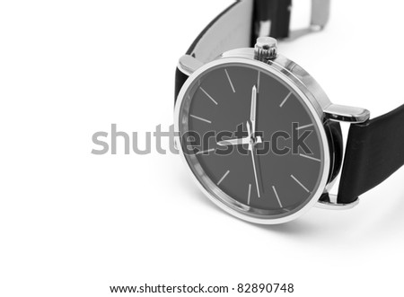 Classic wrist watch over white background. - stock photo
