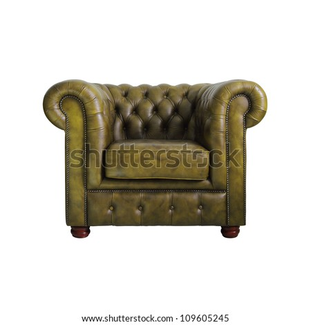 Classic yellow leather armchair isolated on white background with clipping path. - stock photo