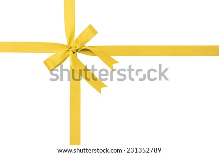 classic yellow ribbon bow for packaging gifts, isolated on white