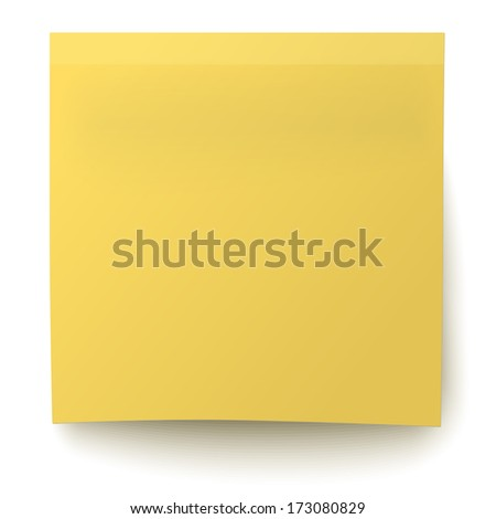 Classic yellow sticky note isolated on white background. Raster version illustration. - stock photo