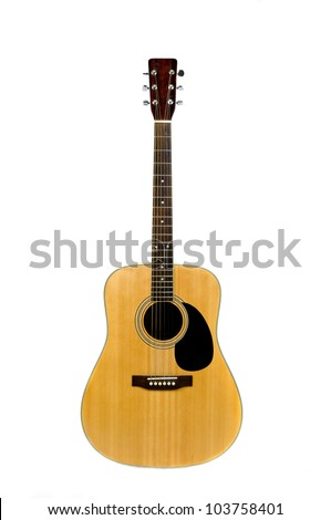 classical acoustic guitar isolated on a white background