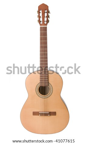 Classical acoustic guitar isolated on white - stock photo