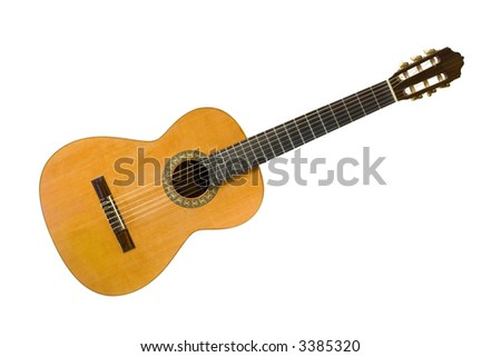 Classical acoustic guitar, isolated on white background - stock photo