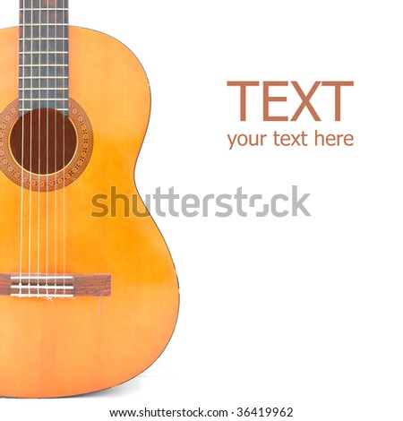 Classical acoustic guitar, isolated on white square background - stock photo