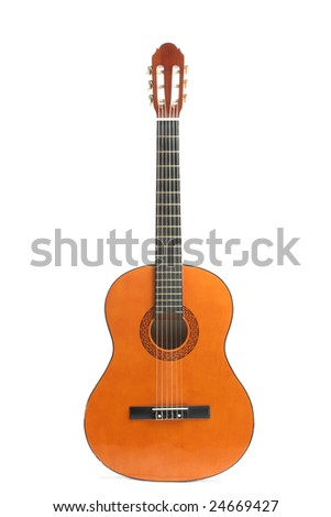 Classical acoustic guitar isolated over white background - stock photo
