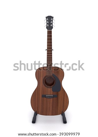 Classical acoustic guitar with guitar stand on white background