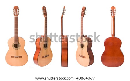 Classical acoustic guitars set  isolated on white - stock photo
