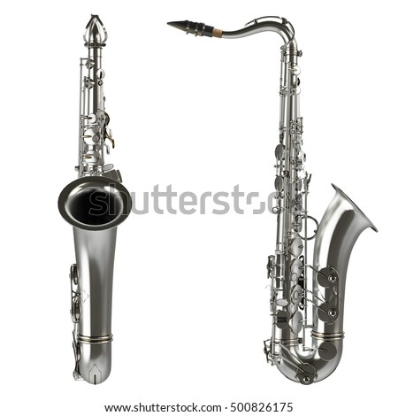 classical alto saxophone isolated on white background 3d illustration high quality