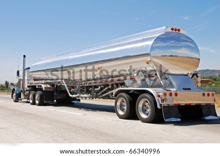 Classical american big vintage petrol truck - stock photo