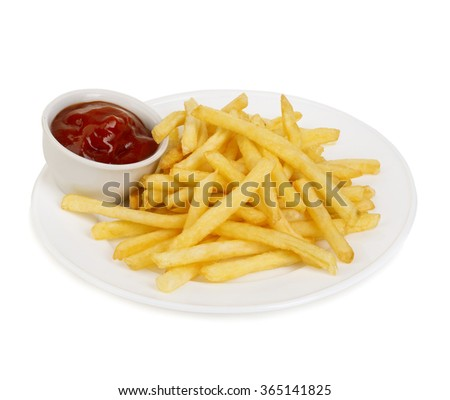 Classical american potatoes fries with ketchup close-up isolated on a white background. - stock photo