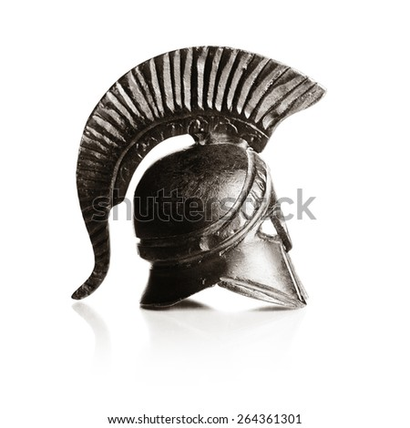 Classical ancient greek helmet of cooper isolated on white - stock photo