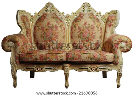 Classical antique sofa chair with floral pattern, isolated with clipping  path - Classical Antique Sofa Chair Floral Pattern Stock Photo (Edit Now