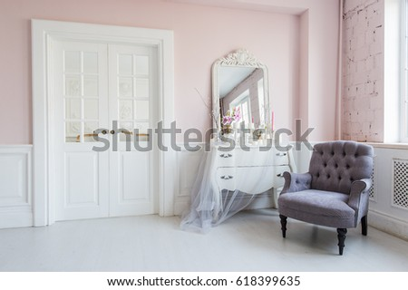 Classical Armchair And Mirror Table At Living Room Interior Part 88