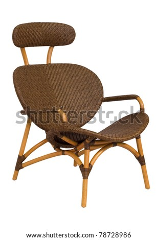 Classical armchair from rattan. The image separately from a background