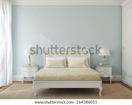 Classical bedroom interior. 3d render. - stock photo