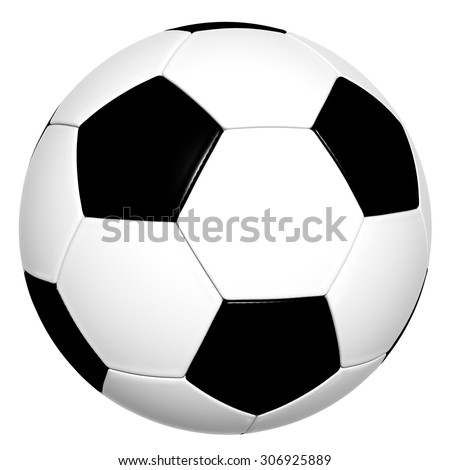 Classical Black and White 3D Soccer Ball isolated on White Background - Without Shadow on the Ground - stock photo