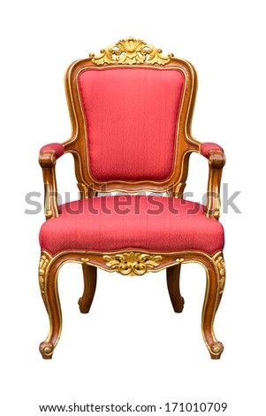 classical carved wooden chair and red fabric - stock photo