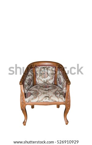 Classical carved wooden chair isolate on white with clipping path
