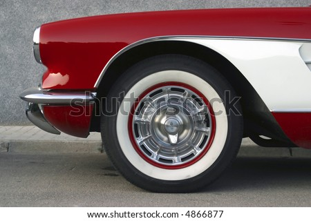 Classical  Chevrolet Corvette red and white - stock photo