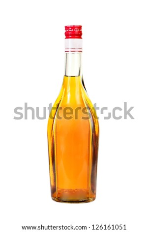 Classical cognac  bottle. It is filled, corked.