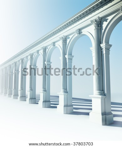 Classical colonnade with arcades and Corinthian columns - stock photo