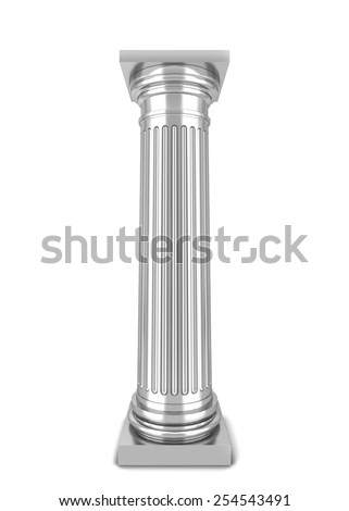 Classical column. 3d illustration isolated on white background